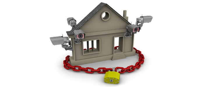 A house with a big lock and five cameras, representing the way in which personal property is protected