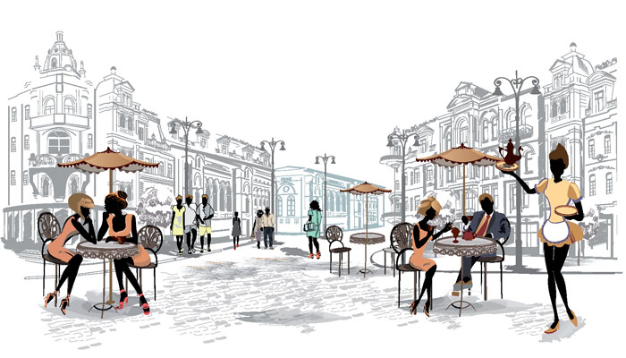 People eating outside on a nice place in the city, an example of a license.