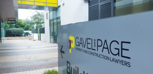 gavel and page property and construction lawyers. Outside courtyard signage to office. Lawyers with a difference.